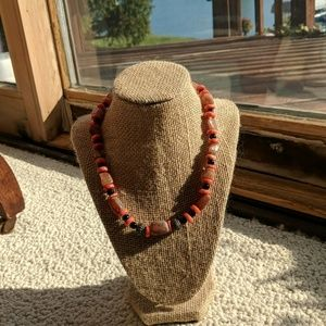 📿Orange coral and brown agate necklace📿